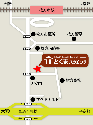 徳馬ハウジングへの地図